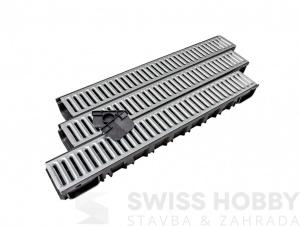 Plastový žlab A15 s pozinkovanou mříží (set) (1000 x 135 x 85) 3 Ks/bal