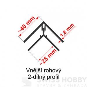 Vnější rohový profil 2-dílný Profi Decor