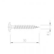 Upevňovací vrut V5143 - 4x30 mm - nerez A2, drážka Torx