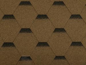 Hnědý asfaltový šindel Guttatec Hexagonal, 5 let záruka