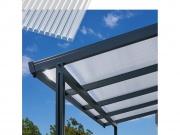 Hliníková pergola Terrassendach Premium - čirý polykarbonát s bílými pruhy / antracitová konstrukce
