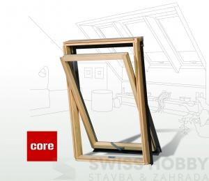 Dřevěné střešní okno s mikroventilací CORE - 114x118 cm