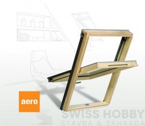 Dřevěné střešní okno s větrací klapkou AERO - 114x118 cm