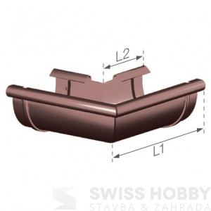 Plastový žlabový vnější roh - 75 mm