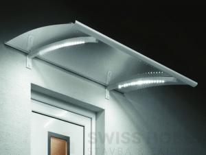 Vchodová stříška LED Technik - 150x90cm, stříbrná